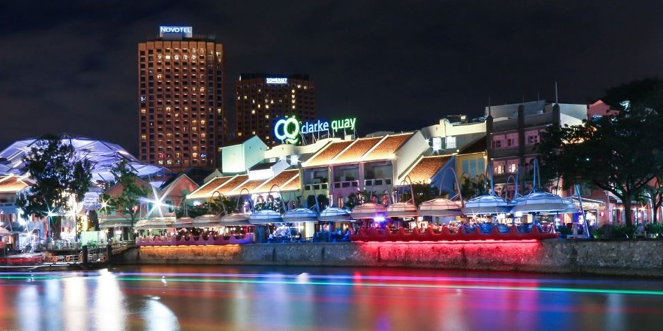 Clarke Quay and Riverside areas in Singapore