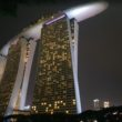 Looking up at the Marina Bay Sands Resort in Singapore